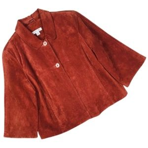 Coldwater Creek Rust Orange Leather Jacket